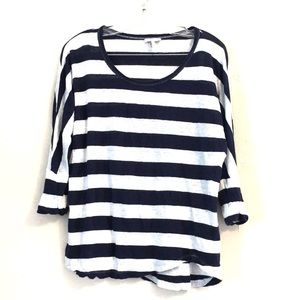 Joie Navy & White Striped Semi-Sheer Linen Top